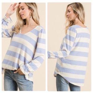 """The Stacie"" Striped Ruffle Sleeve Fuzzy Sweater"